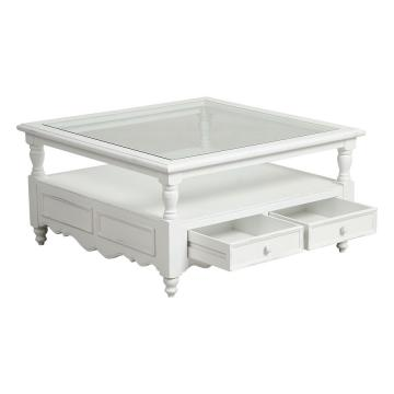 Table Basse Carrée Harmonie Blanc Satiné