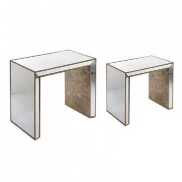 S/2 Tables Gigognes Bois Miroir