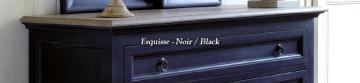 Grande Commode 6Tiroirs Esquisse Noir Vieilli ▬NOUVEAU▬