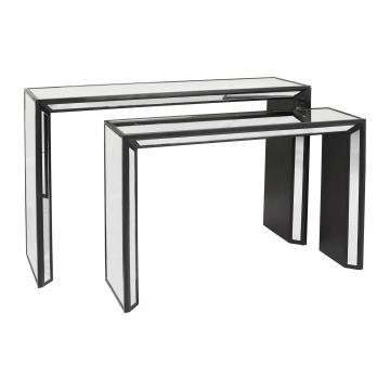 S/2 Consoles Bois Miroir Noir ▬NOUVEAU▬