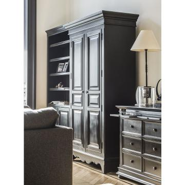 armoire 2 portes 3 tiroirs harmonie noir country corner. Black Bedroom Furniture Sets. Home Design Ideas