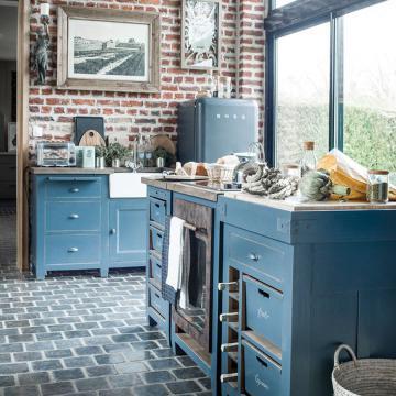 Meuble Lave Vaisselle Tout Intégrable Brocante Bleu Grisé