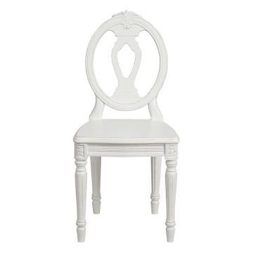 Chaise Gustavien Blanc Vieilli Assise Bois