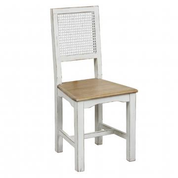 Chaise Esquisse Blanche Assise Bois Dossier Cann