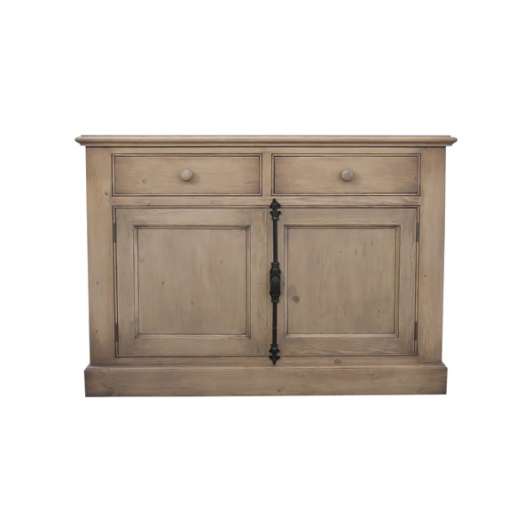 Style campagne bas de buffet 2 portes naturel cendr for Meuble country corner