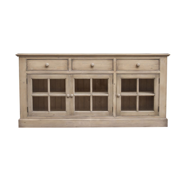 Style campagne bas de buffet 3 tiroirs 3 portes for Meuble country corner