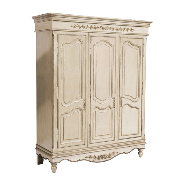 armoire 3 portes romance blanc cass vieilli laqu country. Black Bedroom Furniture Sets. Home Design Ideas