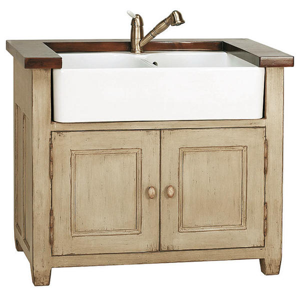 Meuble evier 2 bacs brocante meubles de cuisine style campagne - Table pour brocante ...