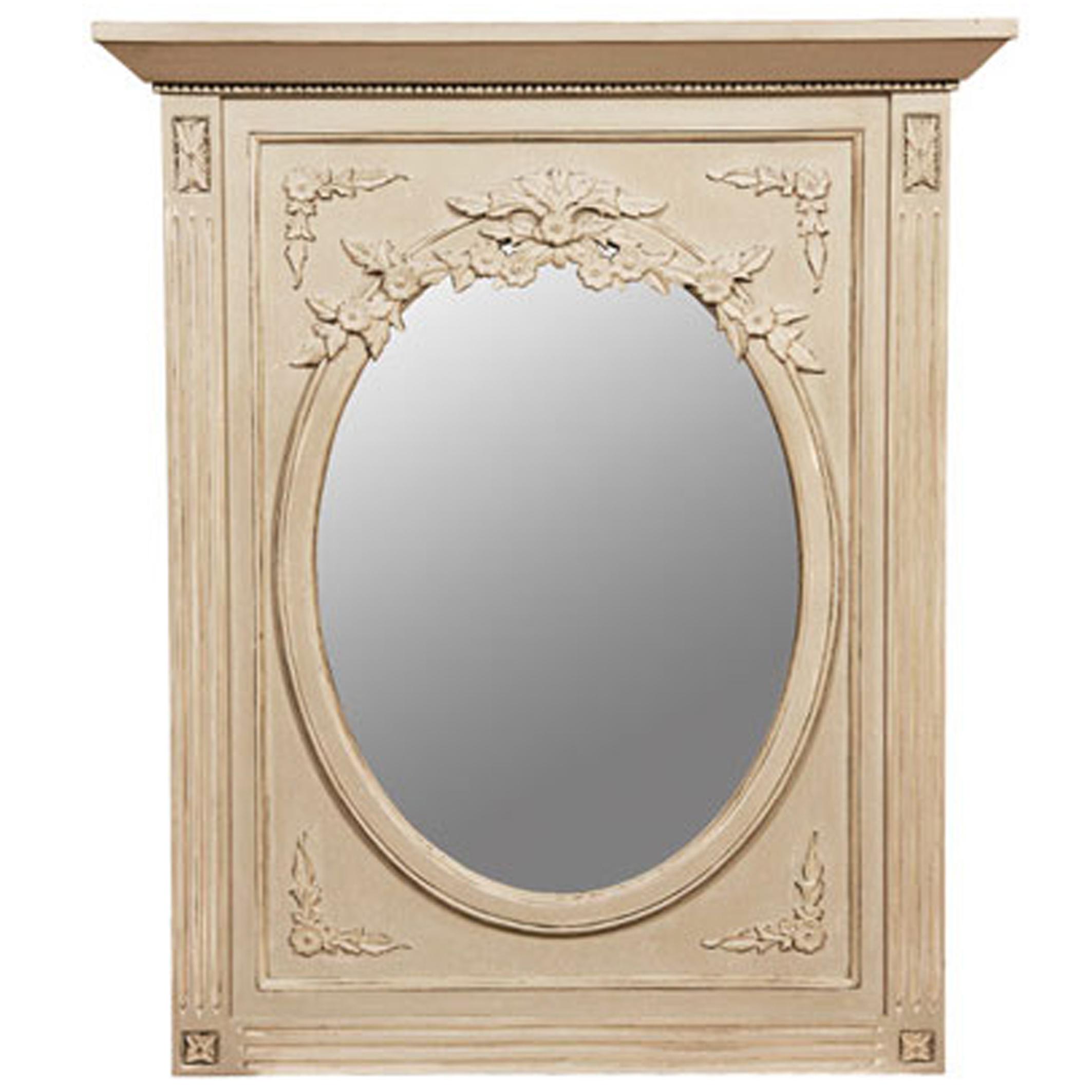 Miroir trumeau gustavien blanc cass vieilli laqu for Miroir blanc vieilli